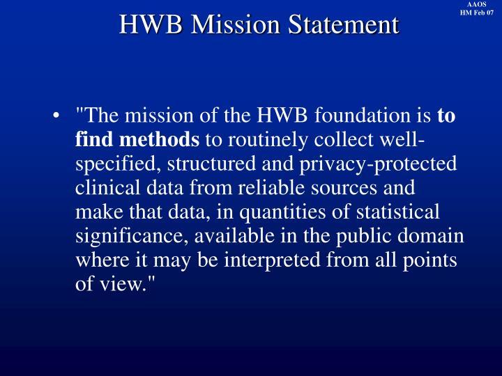 HWB Mission Statement
