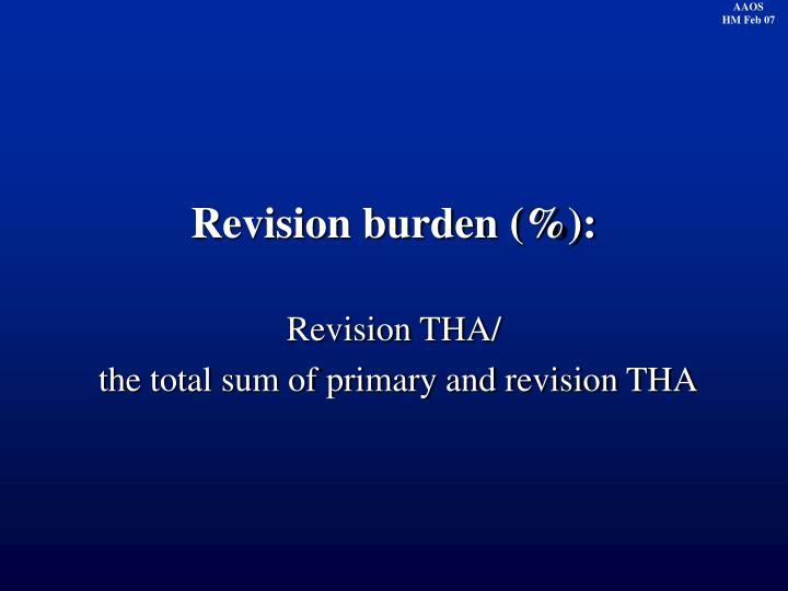 Revision burden (%):
