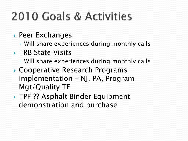 2010 Goals & Activities