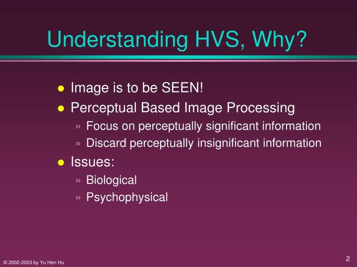 Understanding HVS, Why?