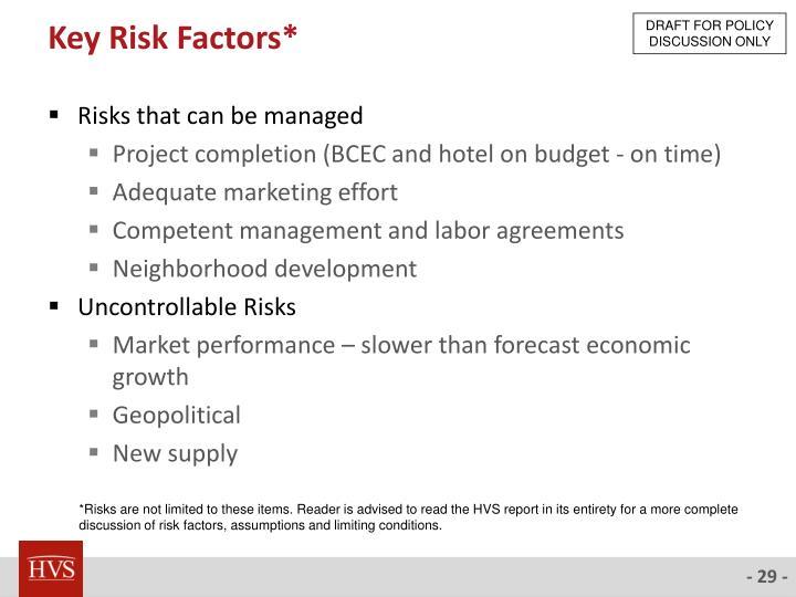Key Risk Factors*