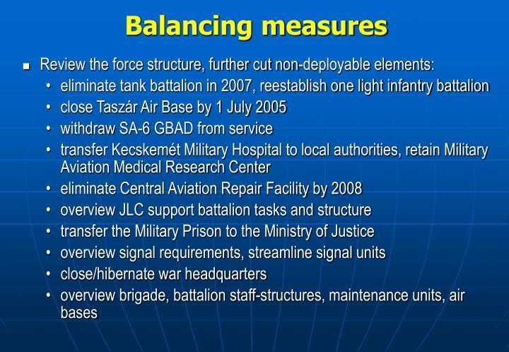 Balancing measures