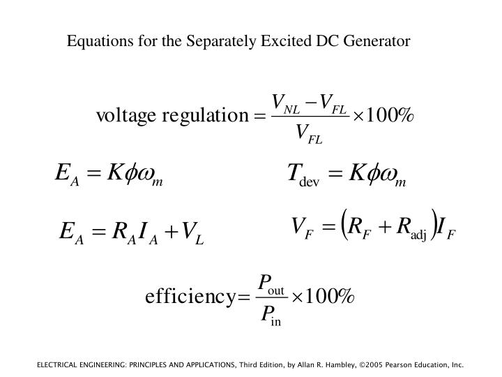 Equations for the Separately Excited DC Generator