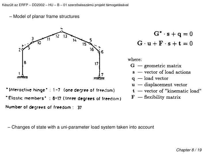 – Model of planar frame structures