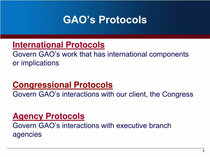 GAO's Protocols