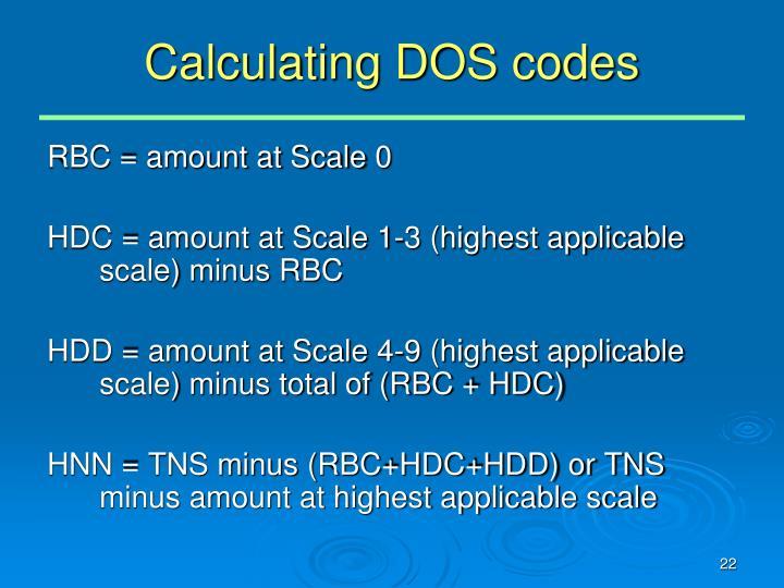 Calculating DOS codes