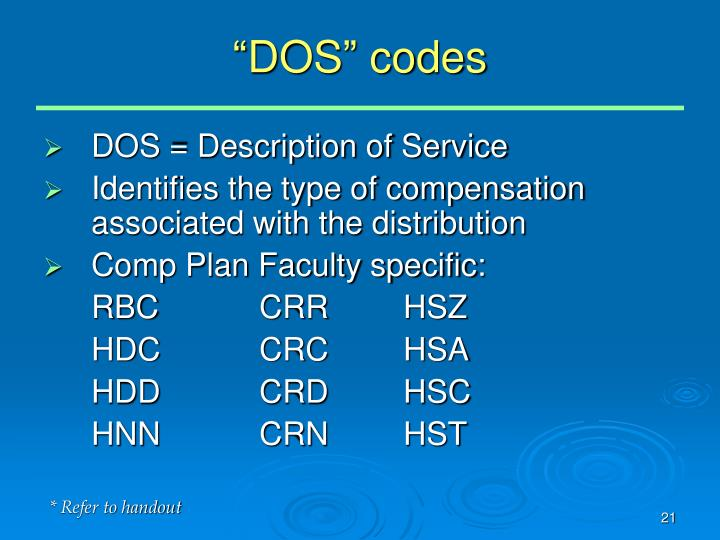 """""""DOS"""" codes"""