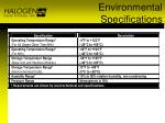 environmental specifications