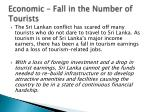 economic fall in the number of tourists