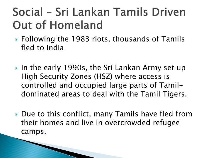 Social – Sri Lankan Tamils Driven Out of Homeland