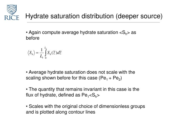 Hydrate saturation distribution (deeper source)
