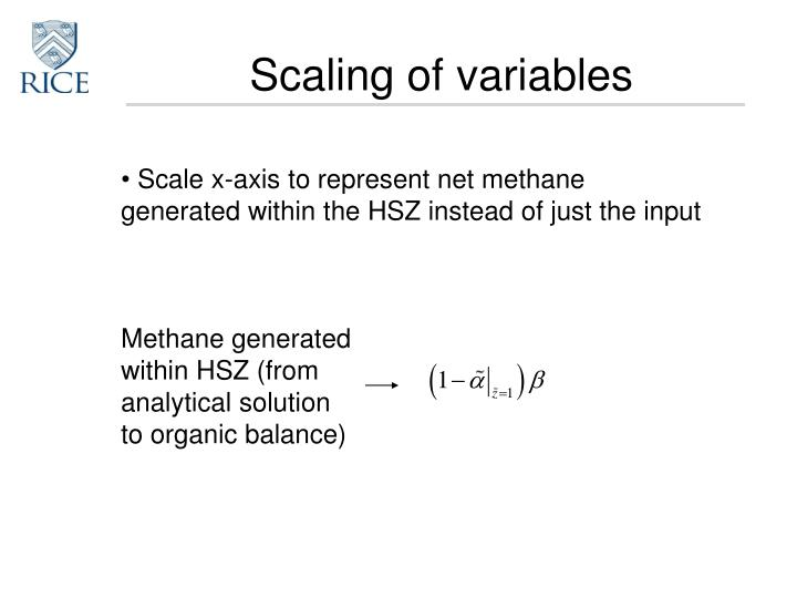 Scaling of variables