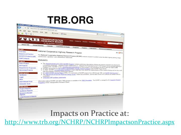 Impacts on Practice at: