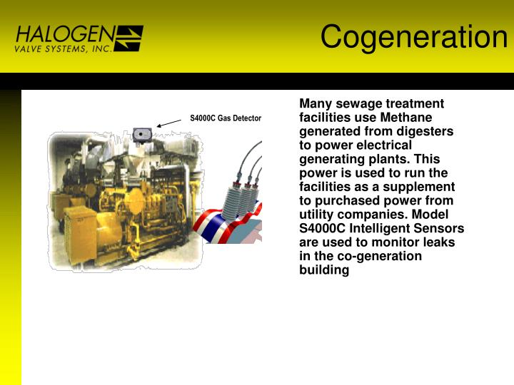 Many sewage treatment facilities use Methane generated from digesters to power electrical generating plants. This power is used to run the facilities as a supplement to purchased power from utility companies. Model S4000C Intelligent Sensors are used to monitor leaks in the co-generation  building
