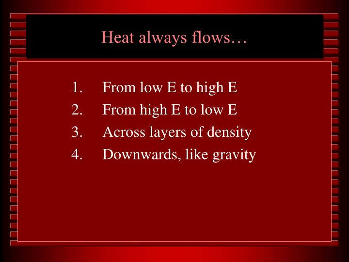 Heat always flows…
