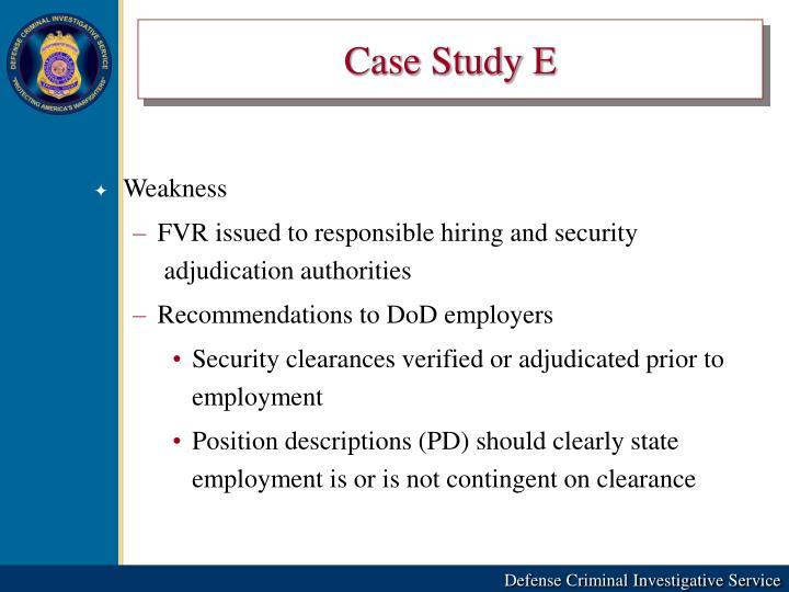 Case Study E