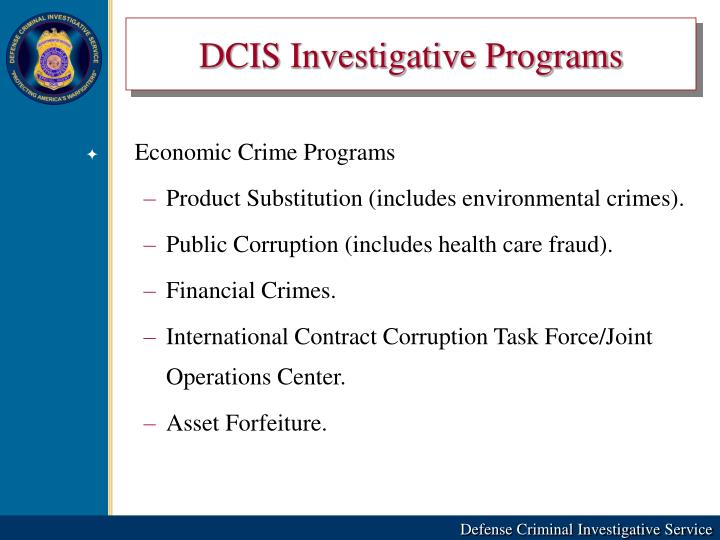 DCIS Investigative Programs