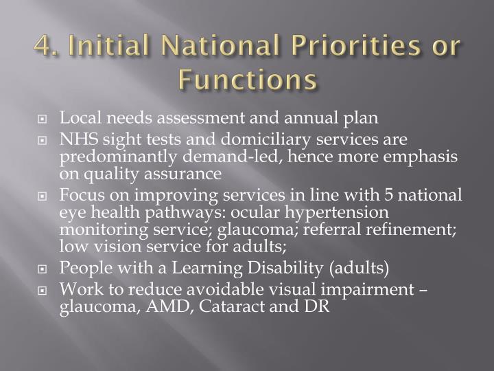 4. Initial National Priorities or Functions