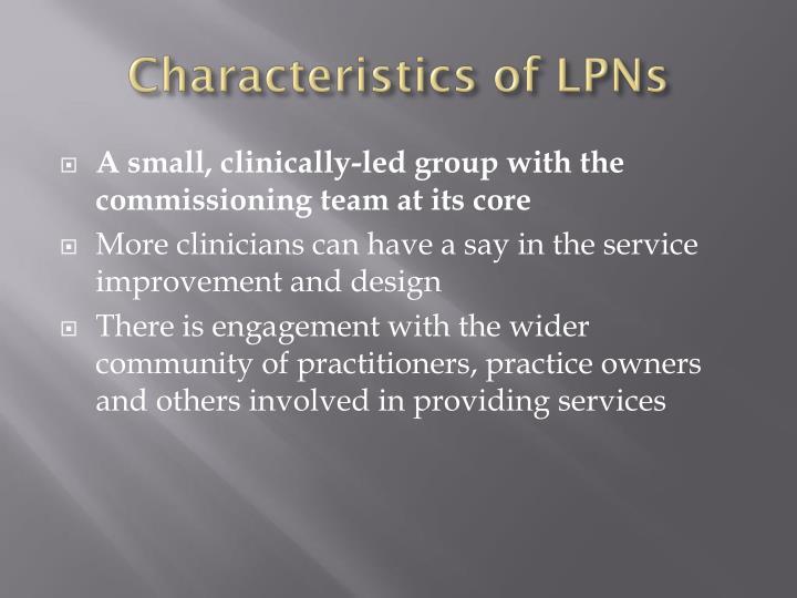 Characteristics of LPNs