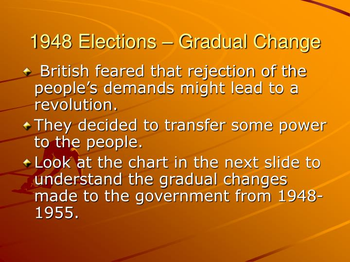 1948 Elections – Gradual Change