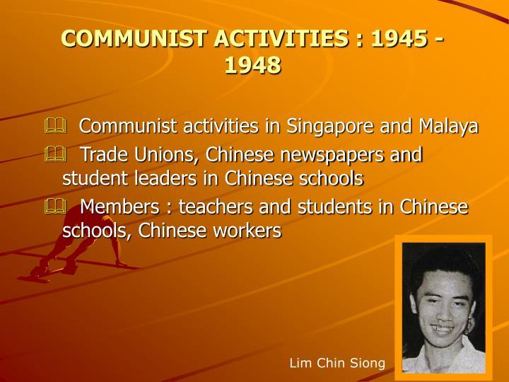 COMMUNIST ACTIVITIES : 1945 - 1948