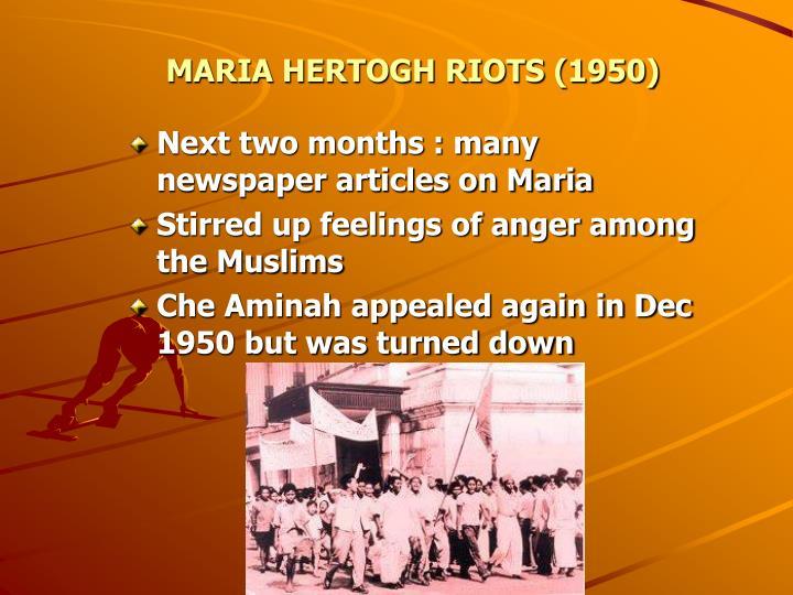 MARIA HERTOGH RIOTS (1950)