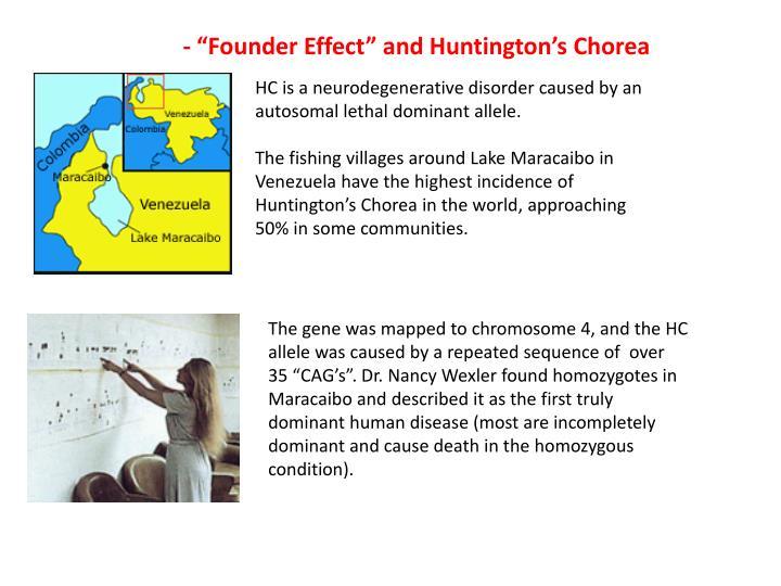 "- ""Founder Effect"" and Huntington's Chorea"