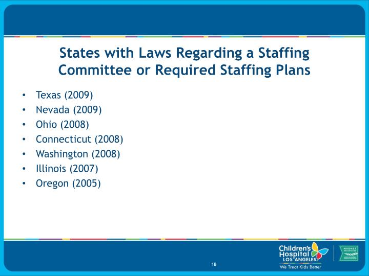 States with Laws Regarding a Staffing Committee or Required Staffing Plans