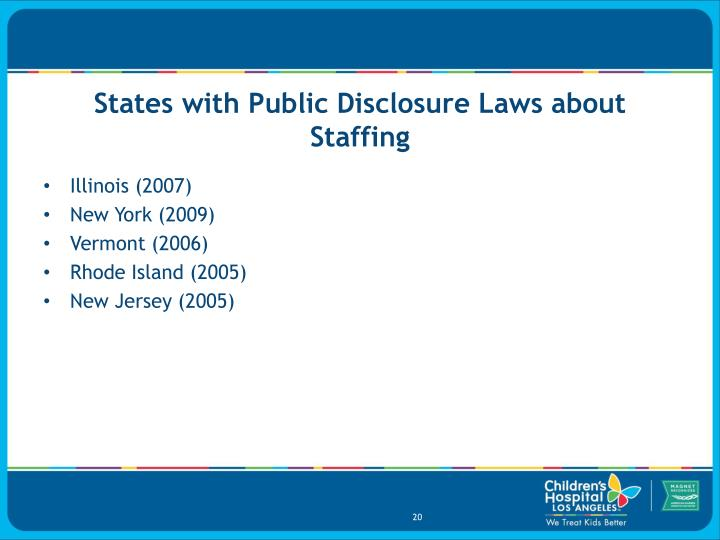 States with Public Disclosure Laws about Staffing