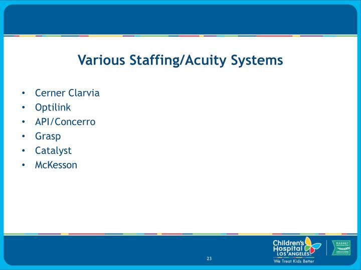 Various Staffing/Acuity Systems