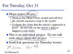 for tuesday oct 31