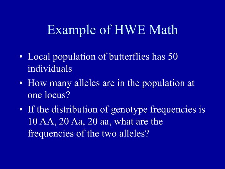 Example of HWE Math