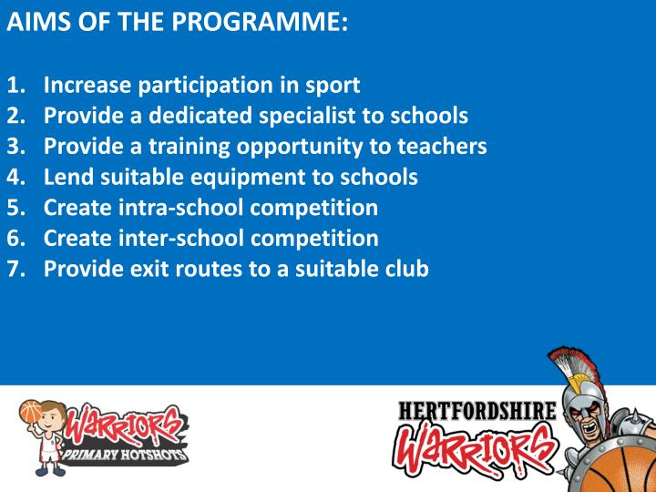 AIMS OF THE PROGRAMME: