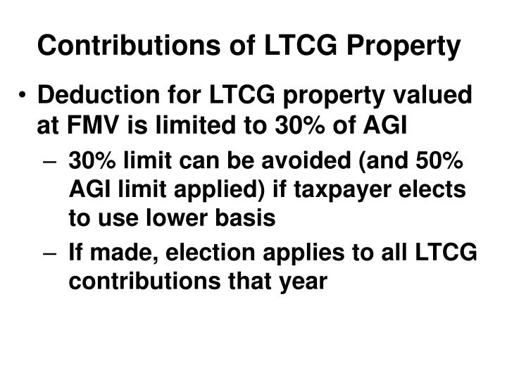 Contributions of LTCG Property