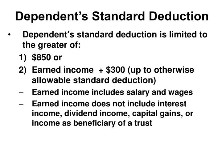 Dependent's Standard Deduction