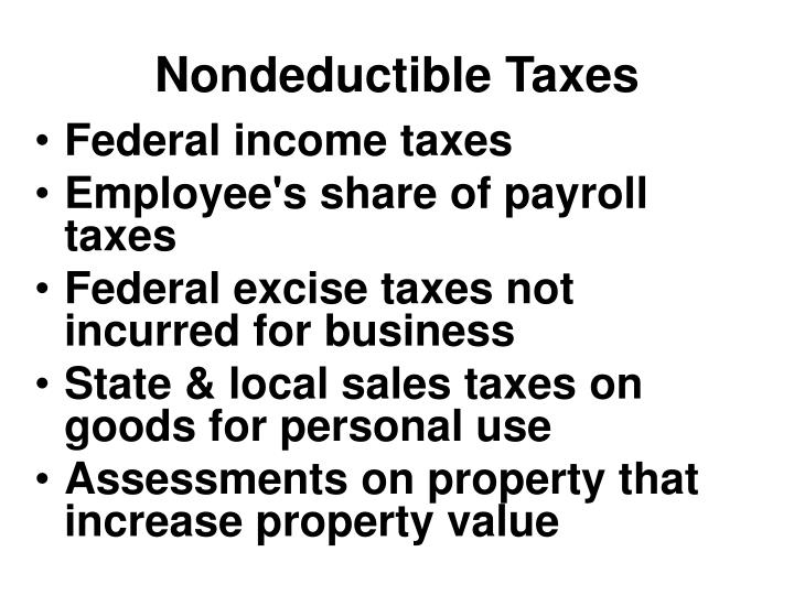 Nondeductible Taxes