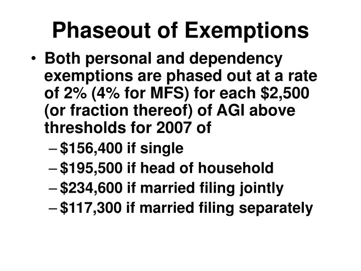 Phaseout of Exemptions