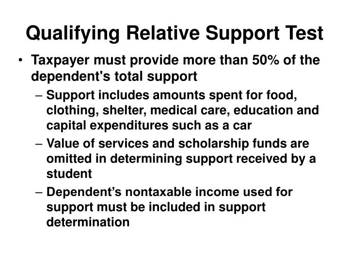 Qualifying Relative Support Test