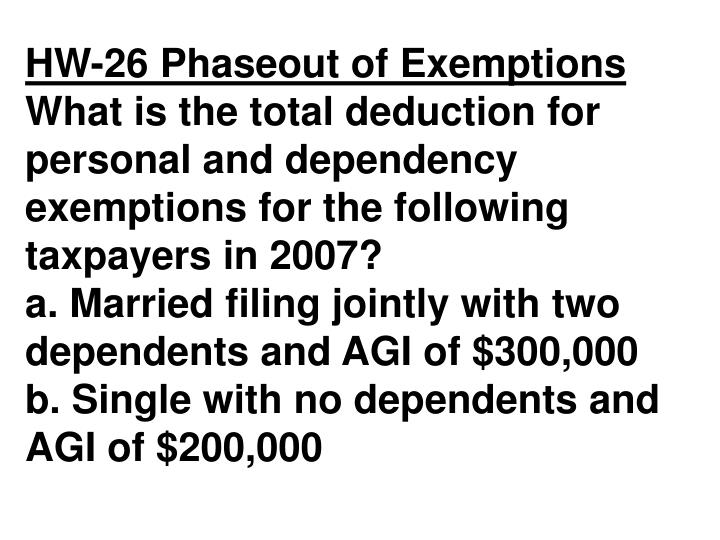 HW-26 Phaseout of Exemptions