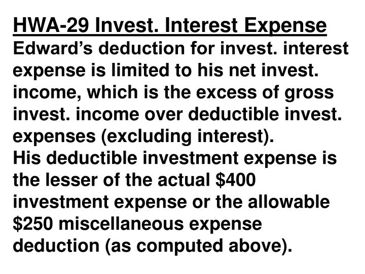 HWA-29 Invest. Interest Expense