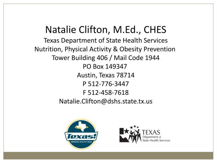 Natalie Clifton, M.Ed., CHES