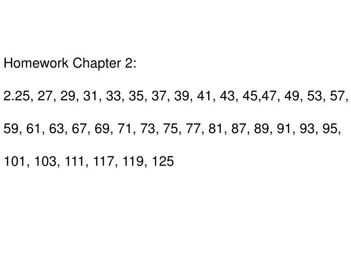 Homework Chapter 2: