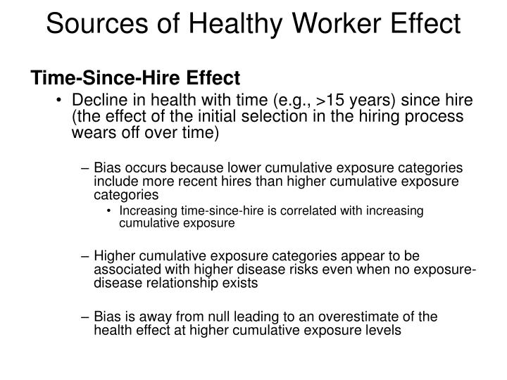 Sources of Healthy Worker Effect
