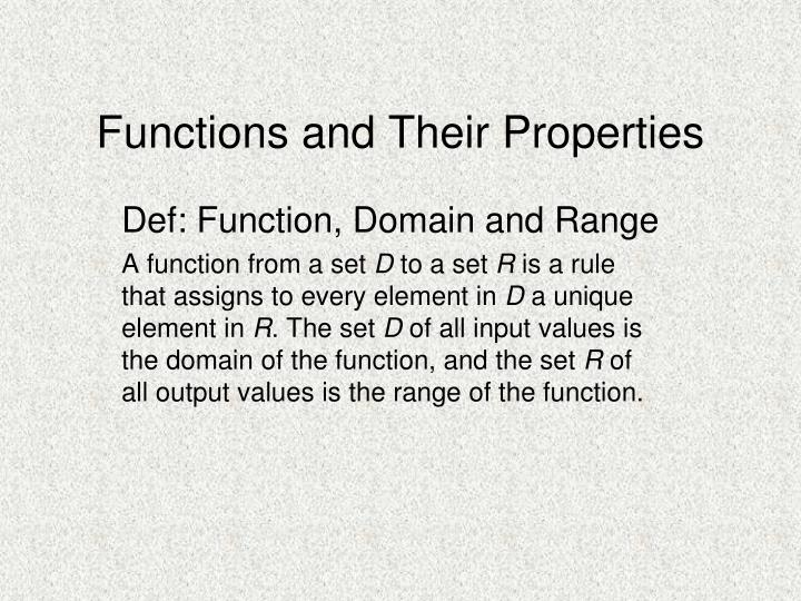 Functions and their properties