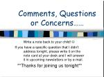 comments questions or concerns