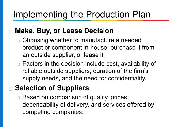 Make, Buy, or Lease Decision