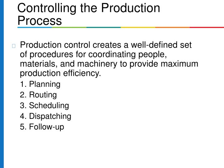 Production control creates a well-defined set of procedures for coordinating people, materials, and machinery to provide maximum production efficiency.