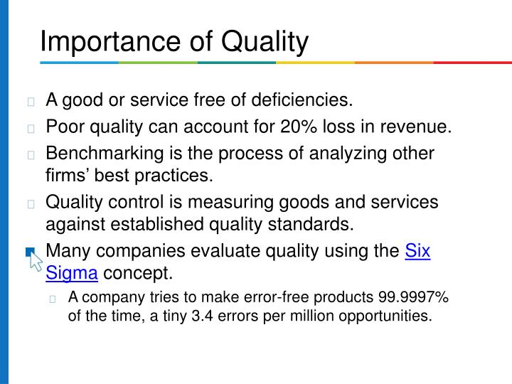 A good or service free of deficiencies.
