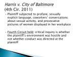 harris v city of baltimore 4th cir 2011