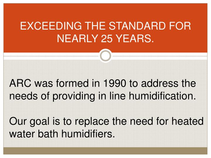 EXCEEDING THE STANDARD FOR NEARLY 25 YEARS.